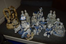 QUANTITY OF CERAMIC FIGURINES IN BLUE AND WHITE