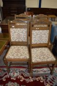 SET OF FOUR UPHOLSTERED DINING CHAIRS WITH HERALDIC EMBROIDERY, APPROX 51CM WIDE MAX