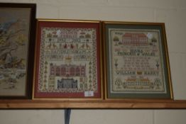 PAIR OF SAMPLERS MADE FOR THE QUEEN'S GOLDEN JUBILEE AND PRINCESS DIANA