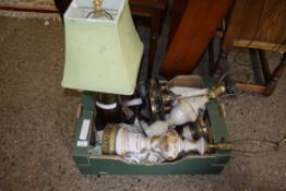 BOX CONTAINING VARIOUS TABLE LAMP BASES