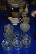 POTTERY WARES, JUGS, VASES ETC, SOME GLASS BOWLS