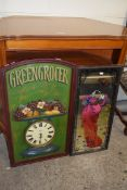 REPRODUCTION PUB SIGN TYPE PANEL WITH INBUILT CLOCK, WIDTH APPROX 46CM TOGETHER WITH A PRINTED