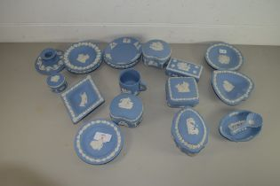 QUANTITY OF WEDGWOOD BLUE JASPERWARE PIN DISHES ETC