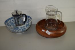 WOODEN FRUIT BOWL AND GLASS JUG