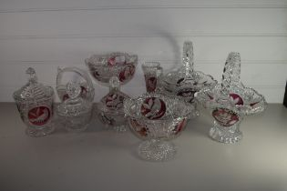 CUT GLASS WARES WITH AMBER COLOURED BIRDS IN BOHEMIAN STYLE COMPRISING BASKETS, VASES, JARS AND