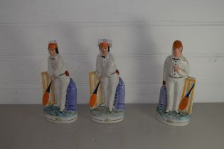 THREE STAFFORDSHIRE POTTERY CRICKETER FIGURES