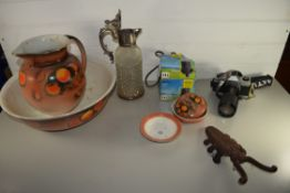 LARGE POTTERY BOWL AND OTHER ITEMS