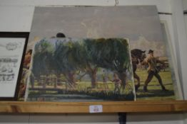 SMALL OIL ON BOARD OF PAINTER IN LANDSCAPE, TITLED VERSO: JOHN WHITLOCK PAINTING A J MUNNINGS,