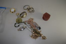 BOX CONTAINING WRIST WATCHES AND COSTUME JEWELLERY