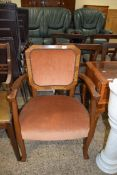 MID-20TH CENTURY UPHOLSTERED BEDROOM CHAIR, WIDTH APPROX 60CM MAX