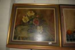 STILL LIFE OF ROSES IN A BOWL SIGNED SUTTON DATED 66