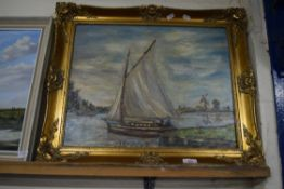 OIL ON BOARD, SAILING ON THE BROADS, SIGNED A RICHARDS LOWER RIGHT, APPROX 39 X 49CM