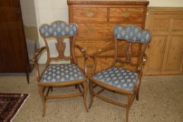 PAIR OF UPHOLSTERED ARMCHAIRS WITH INLAID DECORATION, WIDTH APPROX 55CM MAX