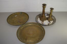 PAIR OF BRASS CANDLESTICKS AND BRASS TRAY AND PLATED TRAY