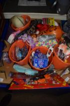 BOX CONTAINING TOYS AND HALLOWEEN ITEMS