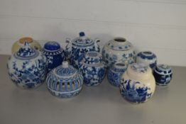 BLUE AND WHITE WARES, GINGER JARS AND COVERS