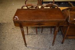 19TH CENTURY MAHOGANY FOLD TOP TEA TABLE RAISED ON RING TURNED LEGS WITH INSET DECORATION, WIDTH