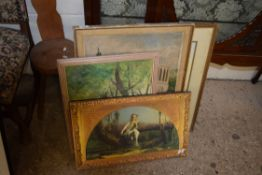 SELECTION OF VARIOUS PICTURES INCLUDING TWO OILS, WATERCOLOUR OF FLOWERS ETC