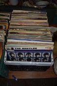 PLASTIC BOX CONTAINING LPS, BEATLES, ETC