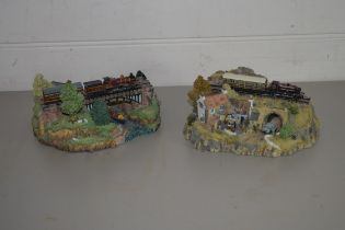 """TWO MODELS BY COUNTRY LIONS COLLECTION DANBURY MINT, ONE ENTITLED """"THE RIVER CROSSING"""", THE OTHER """""""