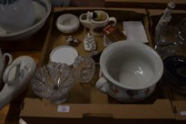 CERAMIC ITEMS AND SOME SMALL GLASS DISHES, ROYAL CROWN DERBY PAPERWEIGHT MODELLED AS A DUCK