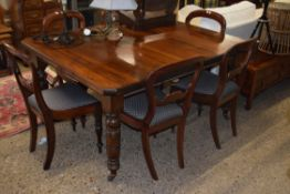 EXTENDING VICTORIAN MAHOGANY DINING TABLE, APPROX 119 X 148CM TOGETHER WITH A SET OF 19TH CENTURY