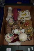 BOX CONTAINING CERAMIC WARES, CHEESE DISH AND COVER, VASES ETC