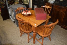 MODERN VARNISHED PINE RECTANGULAR KITCHEN TABLE, APPROX 89 X 74CM TOGETHER WITH A SET OF FOUR