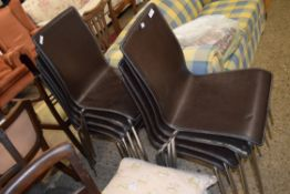 SET OF NINE CHROME FRAMED CHAIRS, EACH WIDTH APPROX 42CM MAX