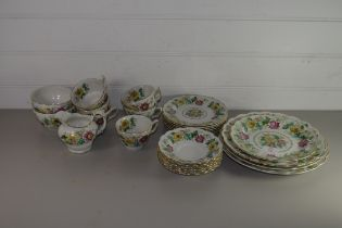 BOOTHS TEA WARES IN THE VICTORIA PATTERN COMPRISING PLATES, CUPS AND SAUCERS