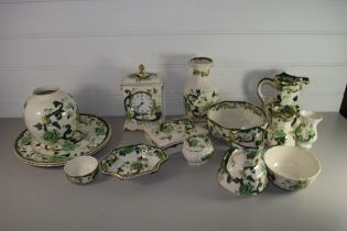 QUANTITY OF MASONS CHARTREUSE PATTERN COMPRISING MANTEL CLOCK, JUGS AND VASES AND PIN DISHES
