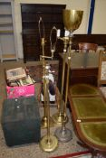 SELECTION OF FOUR VARIOUS BRASS LAMP STANDARDS, TALLEST APPROX 156CM