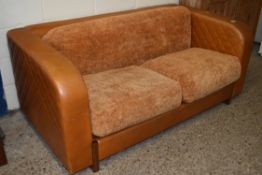 ART DECO STYLE LEATHER EFFECT TWO SEATER SOFA, LENGTH APPROX 180CM MAX
