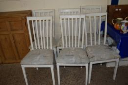SET OF SIX PAINTED DINING CHAIRS