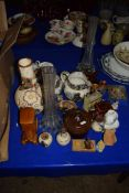 QUANTITY OF POTTERY AND GLASS ITEMS INCLUDING THREE POTTERY JUGS, TWO TALL GLASS VASES ETC