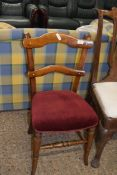 UPHOLSTERED LADDERBACK CHAIR, 19TH CENTURY, WIDTH APPROX 46CM MAX