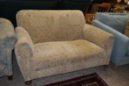 TWO SEATER SOFA WITH BUN FEET, WIDTH APPROX 153CM MAX