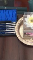 SMALL BOX CONTAINING PLATED WARES, FLOATN GFLOWER CANDLES AND PLATED FLOAT BOWL