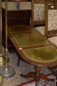 REPRODUCTION LEATHER TOPPED COFFEE TABLE, LENGTH APPROX 120CM