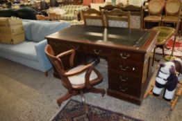 MAHOGANY EFFECT LEATHER TOP TWIN PEDESTAL DESK, LENGTH APPROX 152CM AND AN UPHOLSTERED CAPTAIN'S