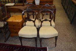 SET OF FOUR 19TH CENTURY DECORATIVE BALLOON BACK UPHOLSTERED DINING CHAIRS, WIDTH APPROX 43CM MAX