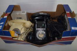 BOX CONTAINING VINTAGE TELEPHONES