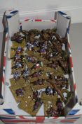 BOX CONTAINING MILITARY FIGURES, MAINLY CAVALRY ON BASES, TOGETHER WITH WWII FIGURES