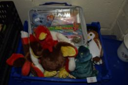 SMALL PLASTIC BOX WITH QUANTITY OF SOFT TOYS