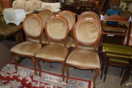 SET OF SIX UPHOLSTERED BALLOON BACK CHAIRS