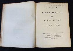 TITUS LUCRETIUS CARUS: TITI LUCRETEII CARI DE RERUM NATURA LIBRI SEX, Birmingham, John