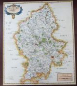 ROBERT MORDEN: STAFFORD SHIRE, engraved hand coloured map [1695], approx 430 x 365mm, framed and