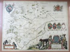 JOAN BLAEU: RUTLANDIA COMITATUS, engraved hand coloured map circa 1646, French text verso, approx