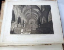 Large scrapbook, Exeter Cathedral interest, prints and cuttings, 18th/19th century including 2