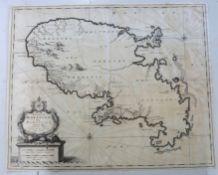 NICOLAES VISSCHER: INSULA MATANINO VULGO MARTANICO, engraved map circa 1698, approx 445 x 545mm +